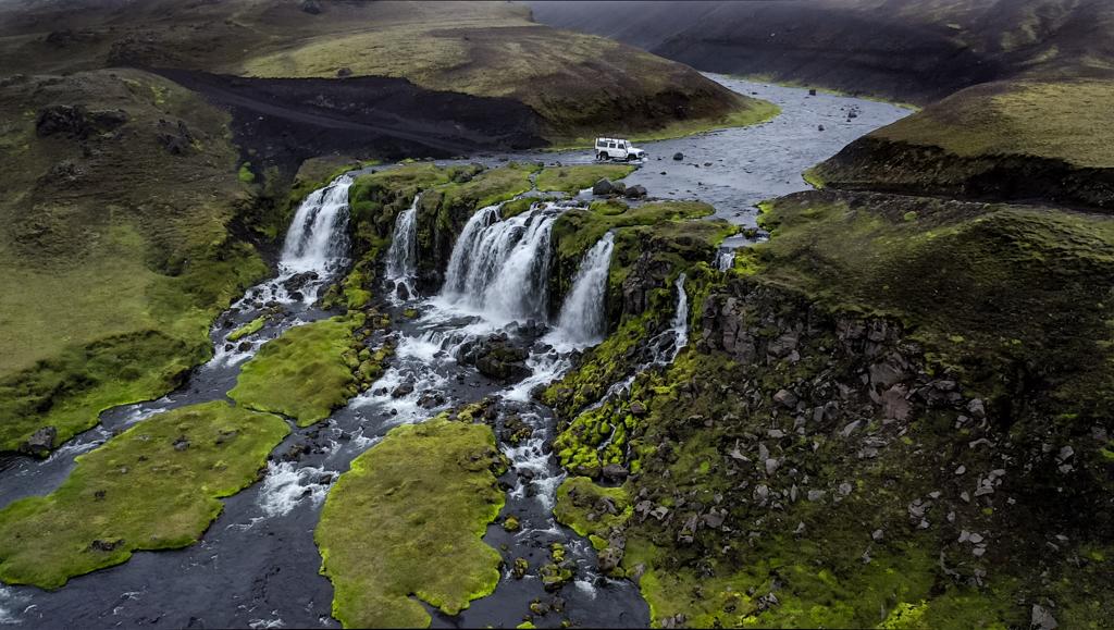 Island Hochland F232 Wasserfall Furt